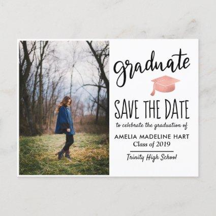 Typography Graduate Hat | Save The Date Photo Announcements Cards