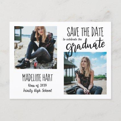 Typography Graduate | Save The Date Modern Photo Announcements Cards