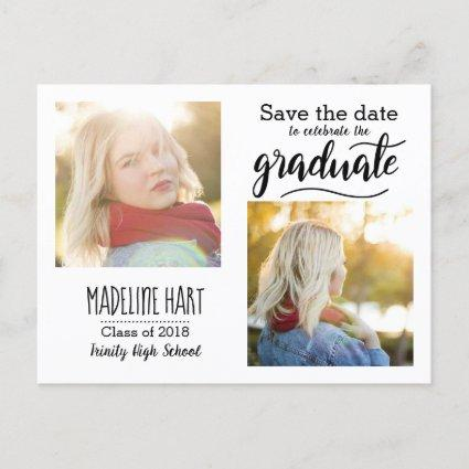 Typography Graduate | Save The Date Two Photo Announcements Cards
