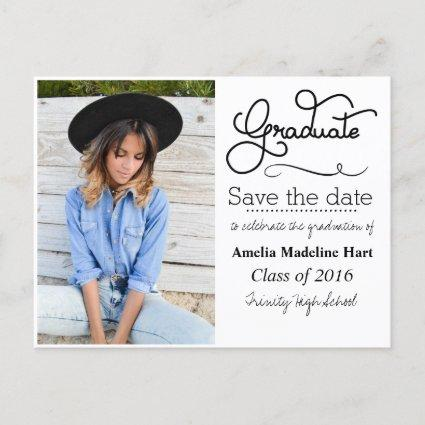 Typography Graduation Party | Save The Date Photo Announcements Cards