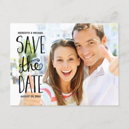 Typography Hand Lettering Photo Save the Date Announcement