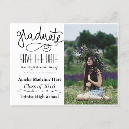 Typography Save The Date Graduation Party Photo Announcements Cards