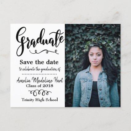 Typography Save The Date Graduation Party Photo