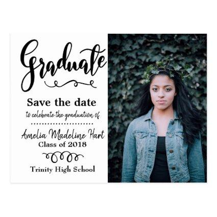 Typography Save The Date Graduation Party Photo Cards
