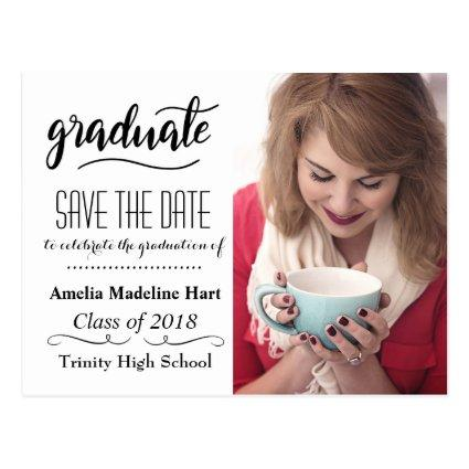 typography save the date graduation party photo cards save the
