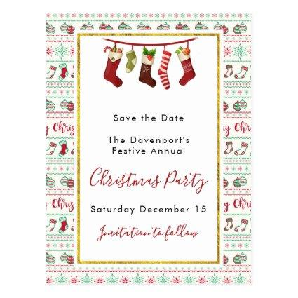 Ugly Christmas Sweater Pattern Save The Date Cards