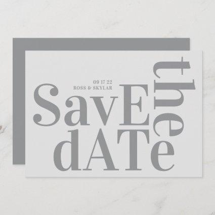 Ultimate Gray Monogram Modern Bold Simple Wedding Save The Date