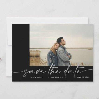 Ultimate | Modern Gray Forever Photo Silver Foil Save The Date