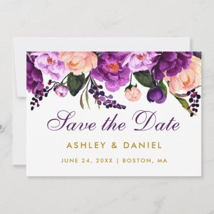 Ultra Violet Purple Floral Gold Save The Date