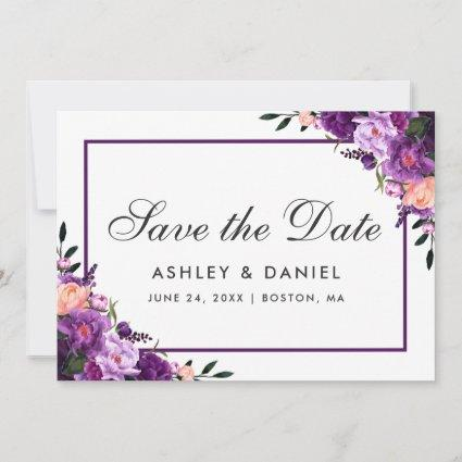 Ultra Violet Purple Floral Save The Date FP