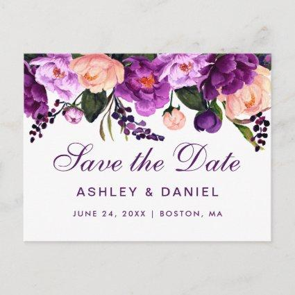 Ultra Violet Purple Floral Save The Date P Announcement