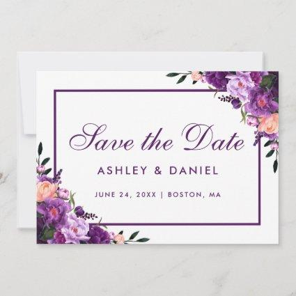 Ultra Violet Purple Floral Save The Date PF