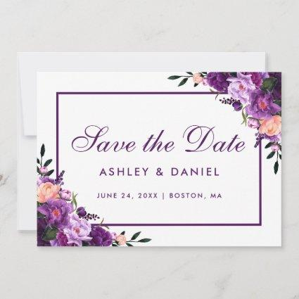 Ultra Violet Purple Floral Save The Date PFV