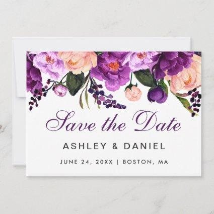 Ultra Violet Purple Floral Save The Date PS