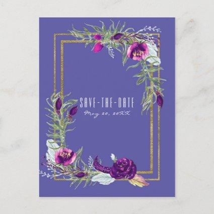 Ultra Violet Purple & Gold Floral Save the Date Announcement