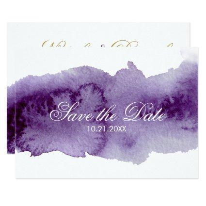 Ultra Violet Watercolor Save The Date Invitation