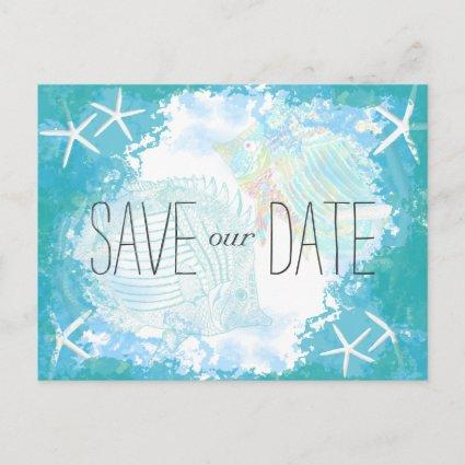 Under the Sea Save the Date Tropical Wedding Announcements Cards