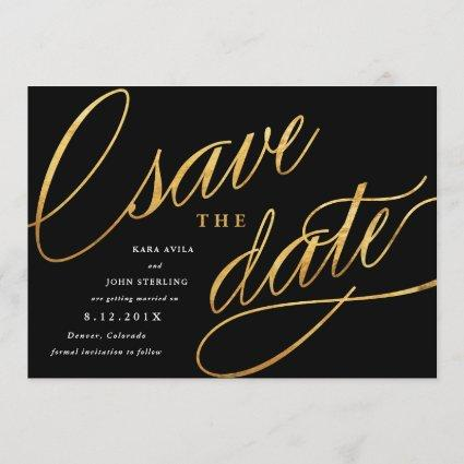 Unique Modern Save the Dates | Black & Gold Save The Date