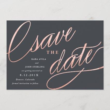 Unique Modern Save the Dates | Rose Gold Save The Date