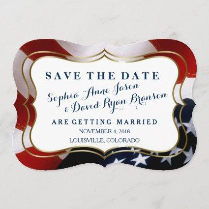 Unique, trendy USA flag Wedding Save The Date
