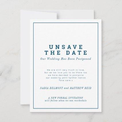 Unsave the date wedding change of plan postponed save the date