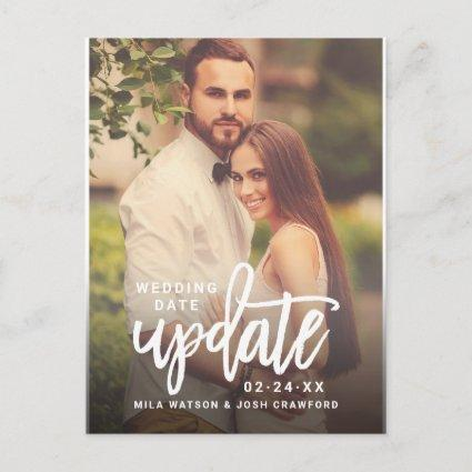 Update Brushed Script Wedding Photo Save the Date Announcement