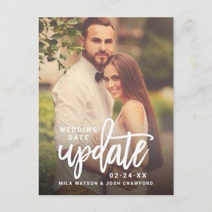 Updated Date | Brush Lettered Script Wedding Photo Announcement