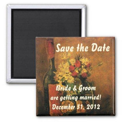 Van Gogh Save the Date with Flowers and Wine! Magnet