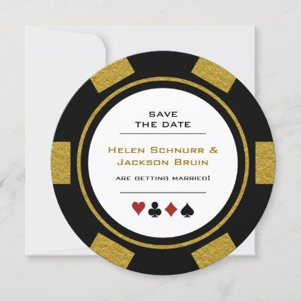 Vegas Poker Chip Black Gold Wedding Save The Date