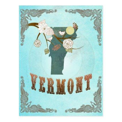 Vermont Map With Lovely Birds Cards