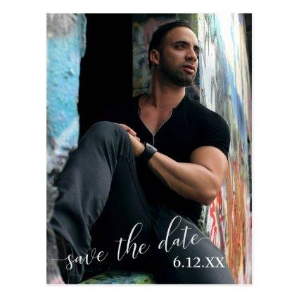 Vertical Photo White Text Save the Date Graduation Cards