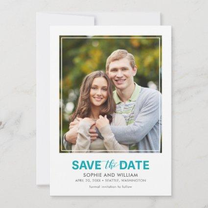 Vertical Turquoise Teal Save the Date Photo