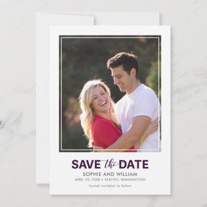 Vertical White Border Purple Save the Date Photo