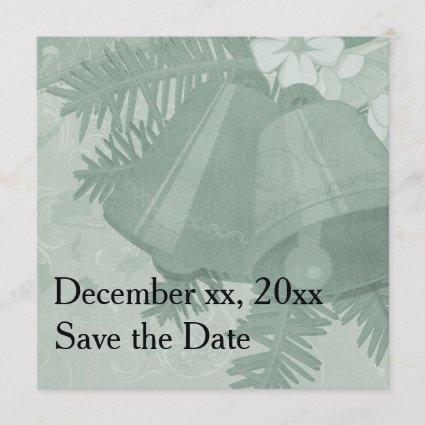 Very Merry Green Christmas Bells Invitations