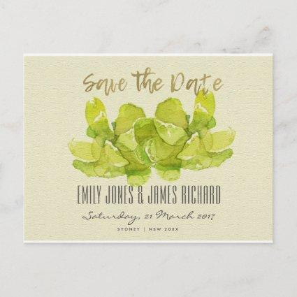 VIBRANT GREEN WATERCOLOR SUCCULENT SAVE THE DATE ANNOUNCEMENT