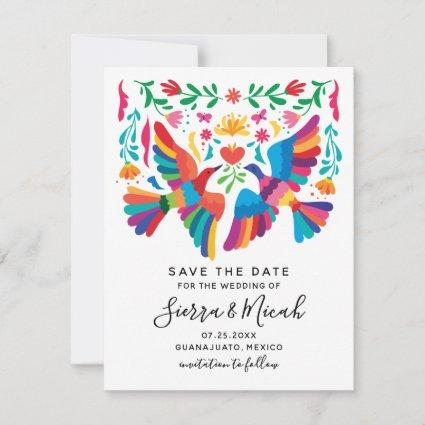 Vibrant Mexican Inspired Birds and Floral Save The Date