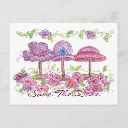 Victorian Fancy Hats Save The Date Flower Drawing Announcement