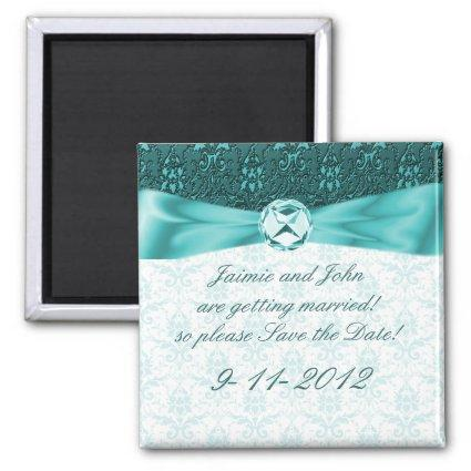 Victorian Teal Damask Save the Date Magnet