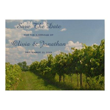 Vineyard Country Wine Wedding Save The Date Magnetic Invitation