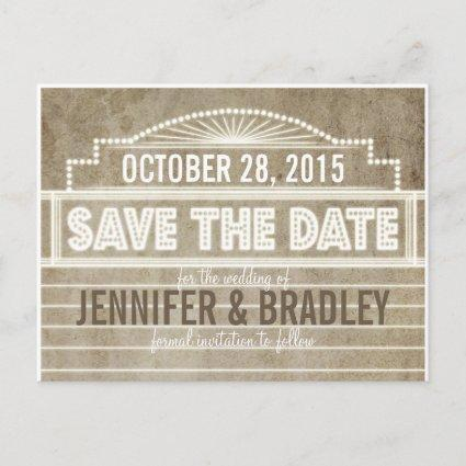 Vintage 1920's Movie Marquee Save the Date Announcement