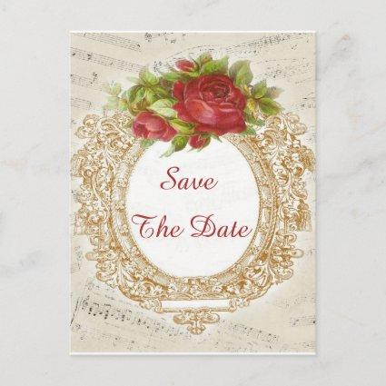 Vintage 90th Birthday Red Rose Frame Music Sheet Announcements Cards