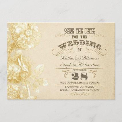 vintage aged typographic save the date
