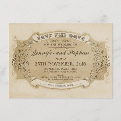 vintage antique old save the date card
