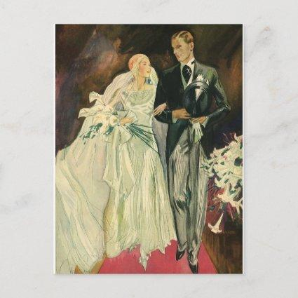 Vintage Art Deco Wedding Newlyweds Save the Date Announcement