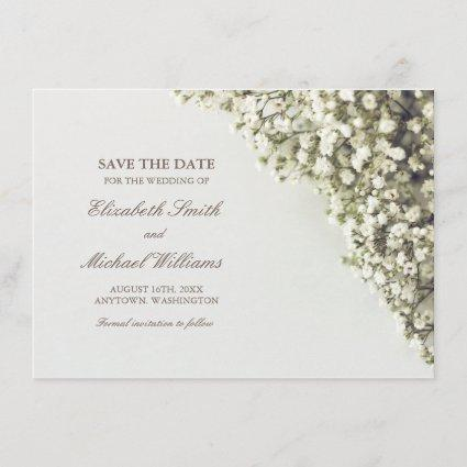 Vintage Baby's Breath Wedding Save the Date