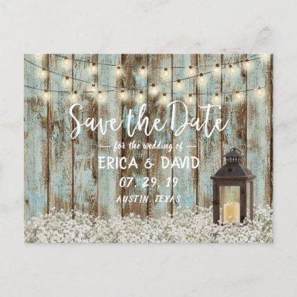 Vintage Barn Lantern String Lights Save the Date Announcement