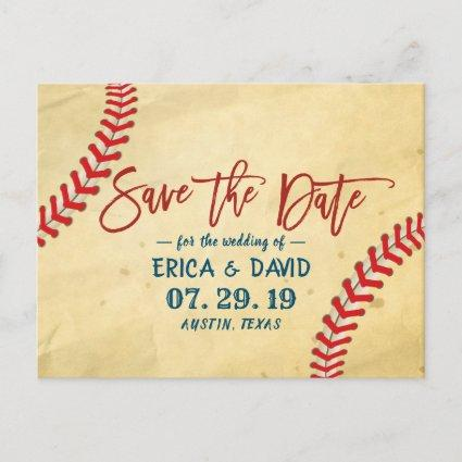 Vintage Baseball Wedding Save the Date Announcement