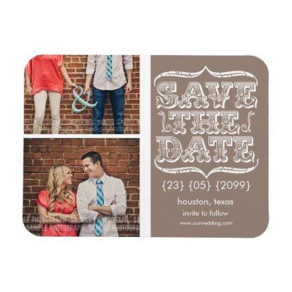 Vintage Beige & White Save the Date Magnets