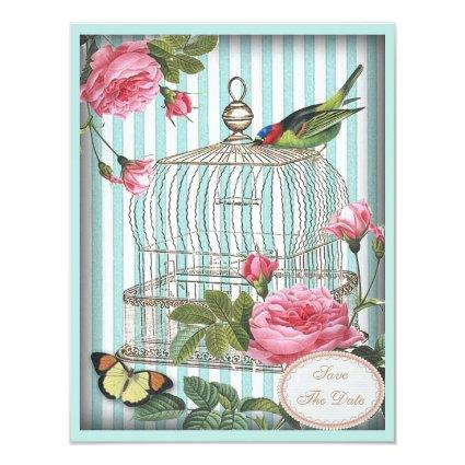 Vintage Bird, Cage & Roses Save the Date Wedding Invitation