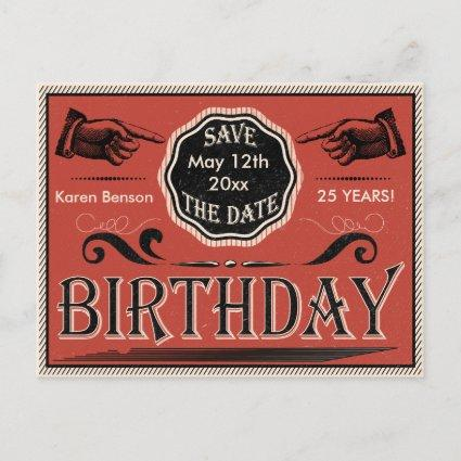 Vintage Birthday Save The Date Announcements Cards